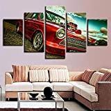 Looaceo 5 Piezas De Cuadros Modulares HD Acuarela Wall Modular Pictures 5 Set Modern Blue Sky Landscape, Red Retro Car Prints Home Decor Poster Kids Room Canvas Painti 59 * 31 Pulgadas 150 * 80 cm