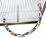 Bonka Bird Toys 1675 Medium Rope Perch Parrot cage pet Toy Large Accessories Conure Amazon African Grey Cockatoo Macaw Colorful Bendable Exercise Balance Training