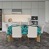 Mantel Flores Verdes 240x120cm | Mantel Fabricado en Lona Impresa a Todo Color | Mantel Económico y Original