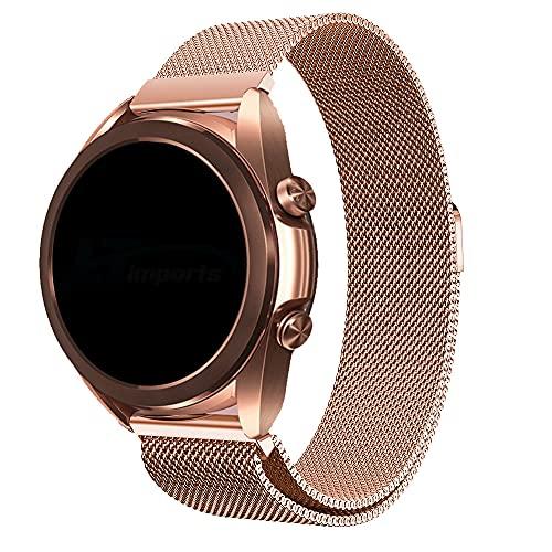 Pulseira 20mm Magnética Milanese compatível com Galaxy Watch Active 1 e 2 - Galaxy Watch 3 41mm - Galaxy Watch 42mm - Amazfit GTR 42mm - Amazfit GTS - Marca LTIMPORTS (Rose Gold)