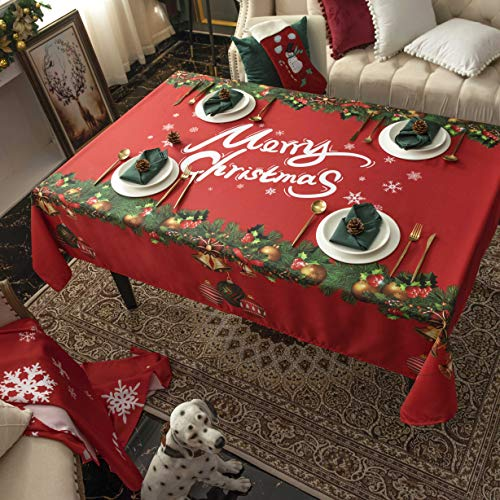 Hosonson Christmas Rectangle TableCloth60x120inch- Waterproof HolidayDecorationTablecloth- ReusableWipableFabricTableLinenCover for Kitchen, Indoorand Outdoor