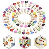 Pinzas de Madera, 100 Piezas Mini Clip de Madera, Clips de Madera Decorativas, Mini Foto de Madera Clips, para Foto Titular de Tarjeta de decoración y Bricolaje Artesanal