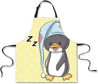"Custom Apron,Cartoon,Sleepy Baby Penguin in Hood Ready to Bed Childhood Happy Dream Cartoon Art,Yellow Grey White,Home Apron.29.5""x26.3"""