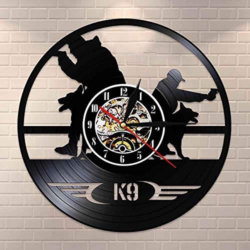 wtnhz LED-Reloj de Pared con Disco de Vinilo de Cuarzo silencioso, decoración de Entrenamiento de Perros de policía y ejército, Reloj de Pared, decoración Creativa de la Pared de la habitación