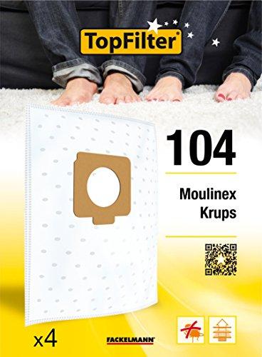 TopFilter 104, 4 sacs aspirateur pour Moulinex et Krups boîte de sacs d'aspiration en non-tissé, 4 sacs à poussière (30 x 26 x 0,1 cm)