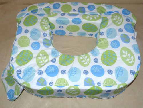 Amerikanisches Stillkissen für Zwillinge von BabyWild, Farbe grün-blau Blättermuster