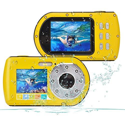 Wasserdichte Kamera FHD 1080P 24 MP 16 fach Zoom Unterwasser Digitalkamera Selfie Dual Display 27 und 20 Zoll Bildschirm DV Aufnahme 10M 100 Zoll Wasserdichte Action Digitalkamera Gelb