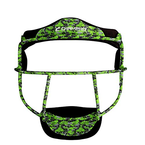 CHAMPRO The Grill Defensive Fielder's Protective Steel Frame Softball Face Mask, Camo Lime Green (CM01), Adult