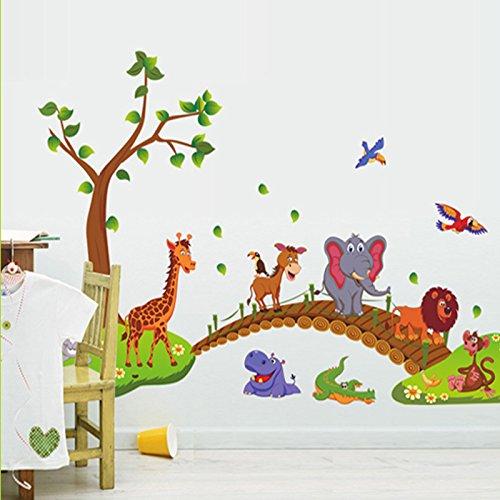 Kibi Simpatici Animali Giraffa Coccodrillo Elefante Leone Albero Adesivo Da Parete Animali Rimovibile Adesivi Murali Albero Con Animali Stickers Muro Camera Da Letto Bambini Animali Della Foresta