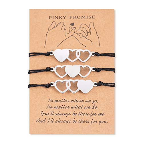 PPJew Pinky Promise Best Friend Bracelets for 3 BFF Friendship Matching Bracelet Distance Jewelry Gift for Women Girls Sister
