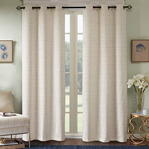 "Comfort Spaces Grasscloth Blackout Window Curtain Pair / 2 Pieces Panels Grommet Top Energy Efficient Saving Drapes for Living Room Bedroom and Dorm, 40"" W x 84"" L, Ivory"