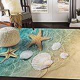 ALAZA Starfish Seashell on The Summer Ocean Beach Area Rug Rugs for Living Room Bedroom 7' x 5'