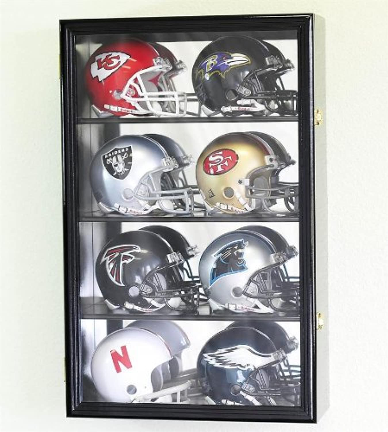 8 Mini Helmet Display Case Cabinet Holder Rack w  UV Predection Lockable with Mirror Back, Black