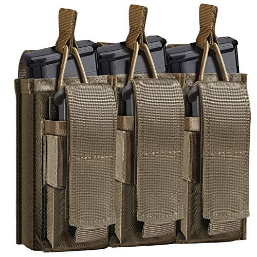 Tactical Mag Pouch for Rifle and Pistol, Open-Top Molle Double/Triple Magazine Pouches Holder Carrier for M4 M14 G36 HK416 Magazines and Glock 17 M1911 9MM (Coyote Brown) -  ELVO