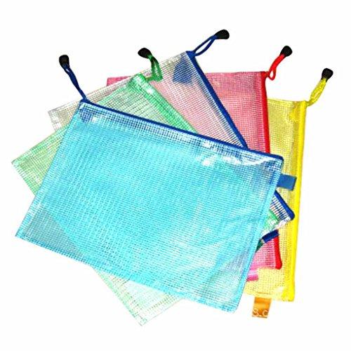 Bobury A3 / A4 / A5 / A6 / B4 / B5 / B6 Gitter Transparente Dokumententasche PVC Reisverschluss Briefpapier Beuteltasche (zufallige Farbe)
