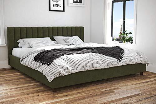 Novogratz Brittany Upholstered Platform Bed Frame, Green Linen, King