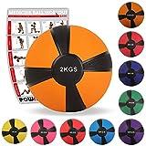 POWRX - Palla Medica 2 kg + PDF Workout (Arancione)
