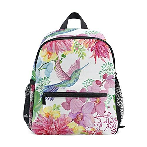 Kinder-Rucksack für Mädchen und Jungen, Kolibri, Blume, Orchidee, Schmetterling, Kleinkinder, Schultasche mit Brustgurt und Flaschenhalter, Rucksack für Vorschule, Kindergarten, leicht