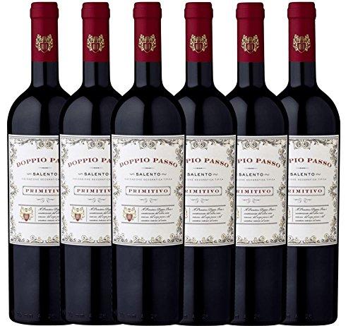 6er Paket - Doppio Passo Primitivo Salento IGT 2018 - CVCB | halbtrockener Rotwein mit VINELLO.weinausgießer | italienischer Wein aus Apulien | 6 x 0,75 Liter