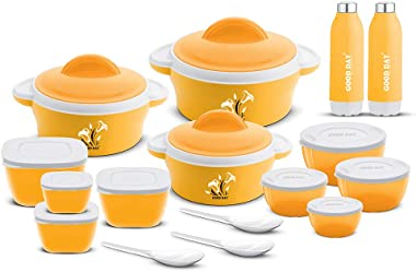 Good Day Plastic Casserole with Storage Container Serving Spoon and Water Bottle Set - 490ml, 860ml, 1350ml, 150ml, 250ml, 40