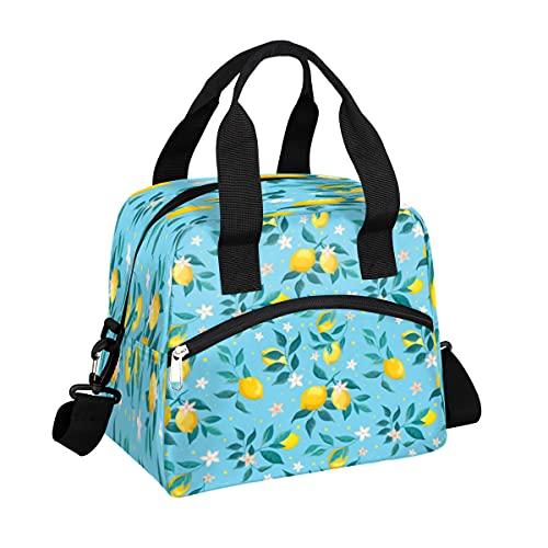 MOMOYU - Bolsa de almuerzo con hojas de limón, bolsa de almuerzo, reutilizable, impermeable, organizador de almuerzo con correa de hombro ajustable para la escuela, playa, trabajo, deporte, viajes