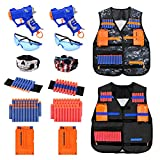 Kids Tactical Vest Kit 2-Pack for Nerf Guns N-Strike Elite Series Gun Wars with 2Blaster Guns,80 Pcs Refill Darts, 2 Reload Clip, 2 Tube Mask, 2 Wrist Band and 2 Protective Glass, Suit for Boys Girls