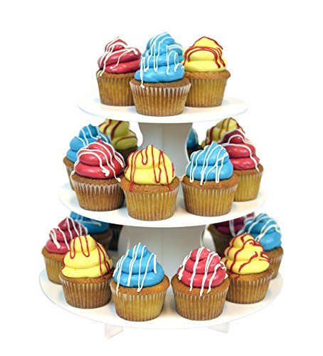 The Smart Baker 3 Tier Round Cupcake Tower- Holds 24 Cupcakes. Reusable, Multi-purpose, Economy Size Dessert and Treat Stand