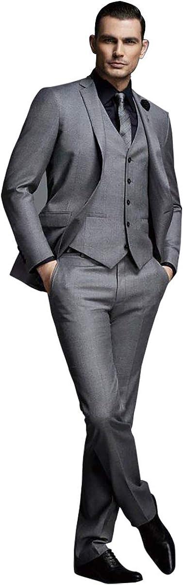 Men's Gray Business Formal Slim Tuxedo Professional Wear Best Man 3 Pieces Wedding Dress Suit