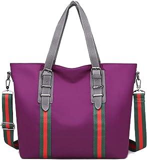 Trendy Lady Nylon Cloth Large-capacity Handbag Fashion Contrast Color Shoulder Bag Portable Big Bag Zgywmz (Color : Purple, Size : 34 * 12 * 32cm)