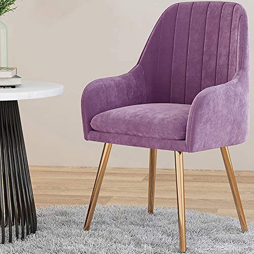 KWOPA Mid-century Velvet Dining Chairs,Upholstered Seat Modern Leisure Armchair Living Room Chair With Golden Legs,Accent Chair For Bedroom,Kitchen-Purple 40x40x76(cm)