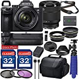 Sony Alpha a7 III Mirrorless Digital Camera with 28-70mm Lens (ILCE7M3K/B) Bundle with Battery Grip & Accessory Package Including 64GB Memory, Spider Vlog Tripod & More (21 Pieces)