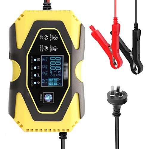Cargador Baterias Coches Dispositivo De Carga De Batería Inteligente Automática De 3 Etapas De 12 V 4.5A con Pantalla LCD para Coches Motos Barco (Color : Yellow, Size : EU)
