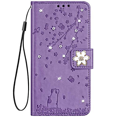 IKASEFU Compatible with iPhone 7/8/SE 2020 Case Cute Cat Cherry Blossoms Rhinestone Pu Leather Glitter Diamond Wallet Strap Case with Card Holder Magnetic Flip Cover Purple