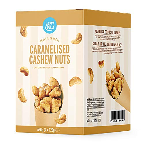 Amazon Marke - Happy Belly Karamellisierte Cashewkerne, 120g x 4