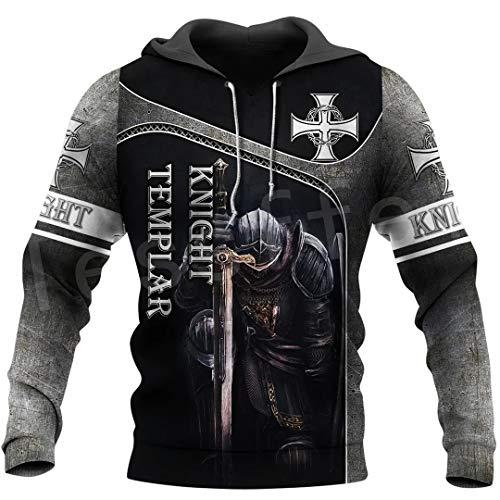 Caballero Templario Disfraz Armadura Pullover Moda Harajuku Streetwear 3Dprint Unisex Cremallera/Sudaderas/Chaqueta Hoodies M