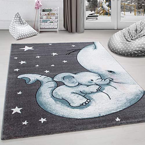 Alfombra infantil para habitación infantil, diseño de elefante y estrella, color gris, blanco y azul, 80 x 150 cm
