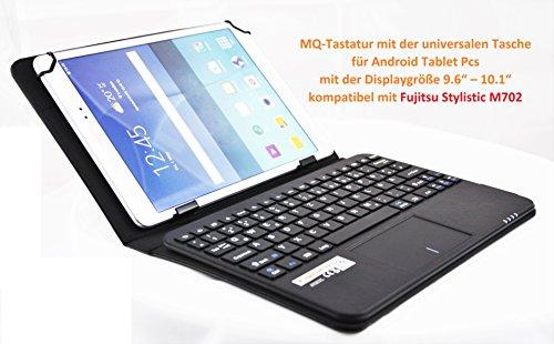 MQ - Fujitsu Stylistic M702 Tastatur Tasche mit Touchpad   Hülle mit Bluetooth Tastatur für Fujitsu Stylistic 10.1   Touchpad unterstützt Scroll- und ab Android 4.4.Zoom-Funktion   Layout Deutsch