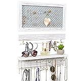 Ilyapa Wall Mounted Horizontal, 3 Piece Jewelry Organizer with Shelf, Rustic White Wood - Jewelry Hanger Rack Set - Earring, Bracelet & Necklace Holder