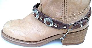 Western Boots Boot Chains Brown Leather with 3 1