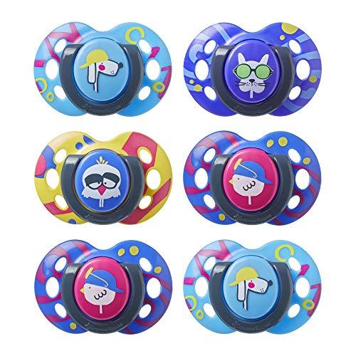 Tommee Tippee Beruhigungssauger Fun Style, symmetrische kiefergerechte Form, BPA-freies Silikon, 6-18m, 6 stück, mehrfarbig