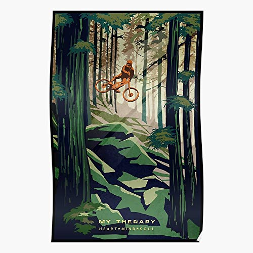 9snewtimes Bike Poster Therapy My Mountain Impressive Posters for Room Decoration Printed with The Latest Modern Technology on semi-Glossy Paper Background
