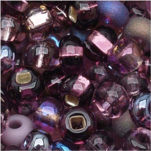 Czech Glass Seed Beads, 6/0 Round, 1 Ounce, Purple Passion Mix