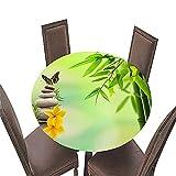 Fansu Impermeable Redondo Mantel con Borde Elástico, 3D Impresión Mantel de Mesa Elástica Ajustada Cubierta de Mesa para Picnic Comedor Cocina Restaurante Cena (Bambú 3,Diámetro 200cm)