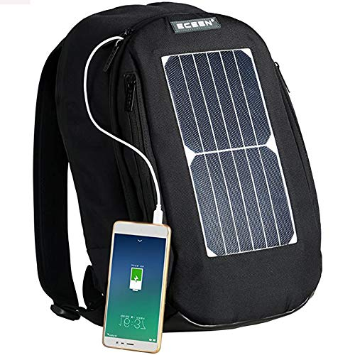 XRQ Solar Powered Backpack with High Efficiency Solar Panel Bag Solar Charger Pack with Voltage Regulate Charging,Travel Laptop Backpack