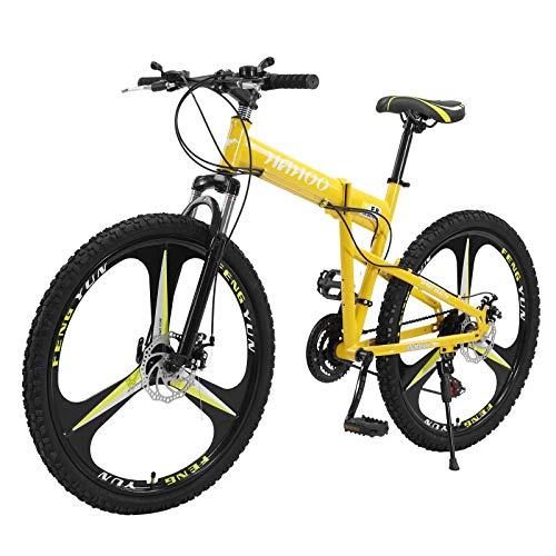 Mcniag Mens Mountain Bike, 20in 7 Speed Folding Bike, Full Suspension, Carbon Steel Hybird Bike Mini Compact Suspention Bike Bycicle for Men Women【Shipping from US】 (Yellow)