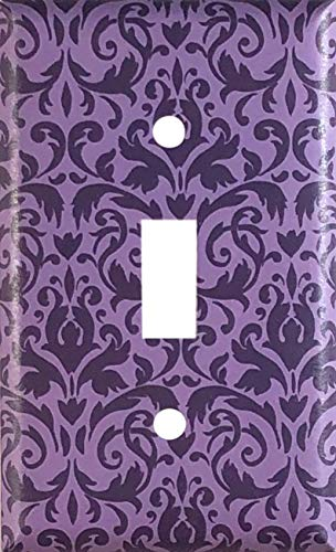 Purple Damask Design Decorative Single Toggle Light Switch Wall Plate Cover Standard/Midway or Jumbo Size