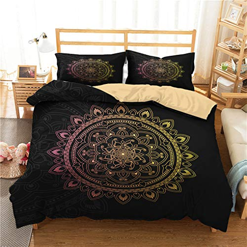 Juego de cama Indio Bohemia Mandala Galaxia Atrapasueños Estilo étnico Exótico Negro Dorado Luna Estrella Geométrico Boho Funda nórdica Con Cremallera, Microfibra (Mandala,220x240 cm - Cama 150 cm)