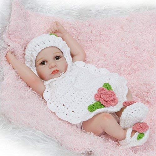Funny House Newborn Doll 10 Inch / 26cm Full Silicone Soft Vinyl Real Looking Premie Reborn Baby Dolls Lifelike Newborn Girl Doll Xmas Gift