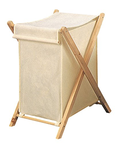 King Home P1513277 Opvouwbare wasmand van hout en stof ecru, 42 x 41 x 64 H