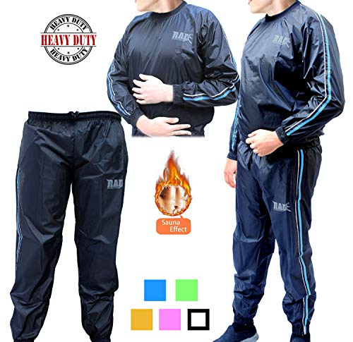 RAD Sweat Suit Sauna Exercise Tracksuit Fitness Weight Loss Slimming Boxing Gym Belt Blue 5XL